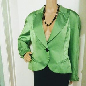 CHRISTIAN DIOR LIME GREEN SINGLE BUTTON JACKET